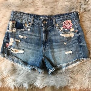 American Eagle Floral Embroidered Denim Shorts